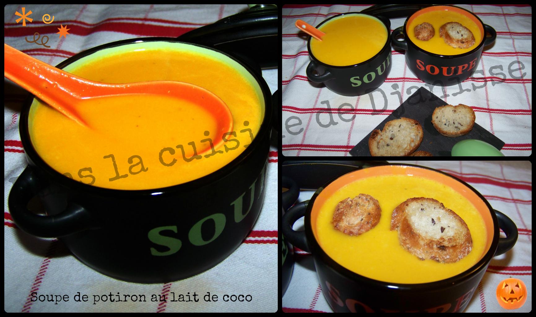 Soupe de potiron au lait de coco recette v g talienne - Soupe potiron lait de coco curry ...