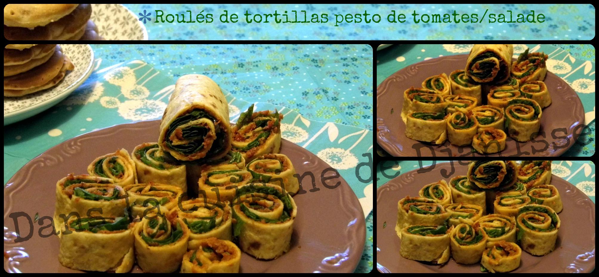 Roulés de tortillas pesto de tomates/salade