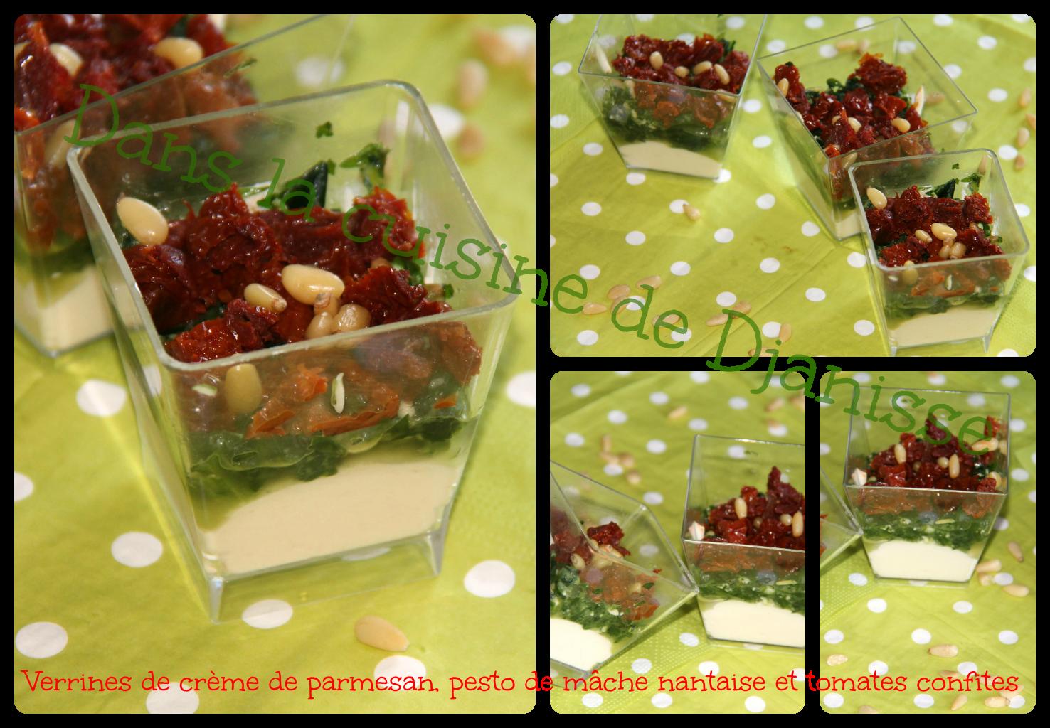 Verrine crème parmesa, pesto de mâche nantaise & tomates confites