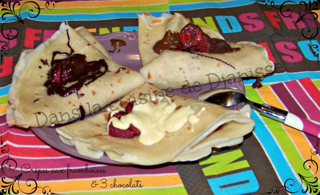 Crêpes aux framboises et 3 chocolats