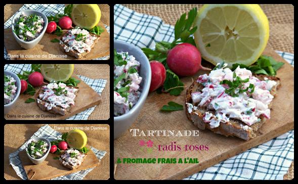 Tartine radis rose et fromage